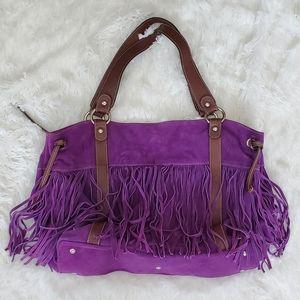 Cavalcanti Purple Suede Fringe Bag